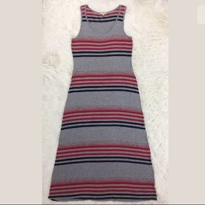 Live and Let Live grey striped maxi dress Large